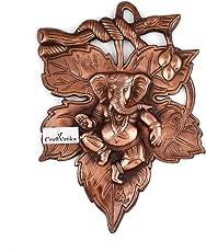 Collectible India God Ganesha On Leaf Metal Wall Hanging Sculpture   Lord Ganesh Idol Home Decor Ganpati Lucky Feng Shui Wall Art  