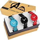 Acnos SkyBlue Black Red Analogue Watches for Women Pack of 3 (605-sky-red-blk)