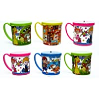 Perpetual Bliss Kids Fashion Baby Boy's and Baby Girl's Plastic Printed Mugs with Lid for Milk (Multicolour, Medium…