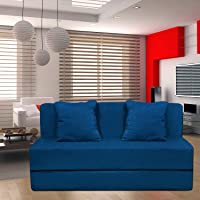 Aart Store 3x6 One Seater Sofa Cums Bed for Home Blue Color