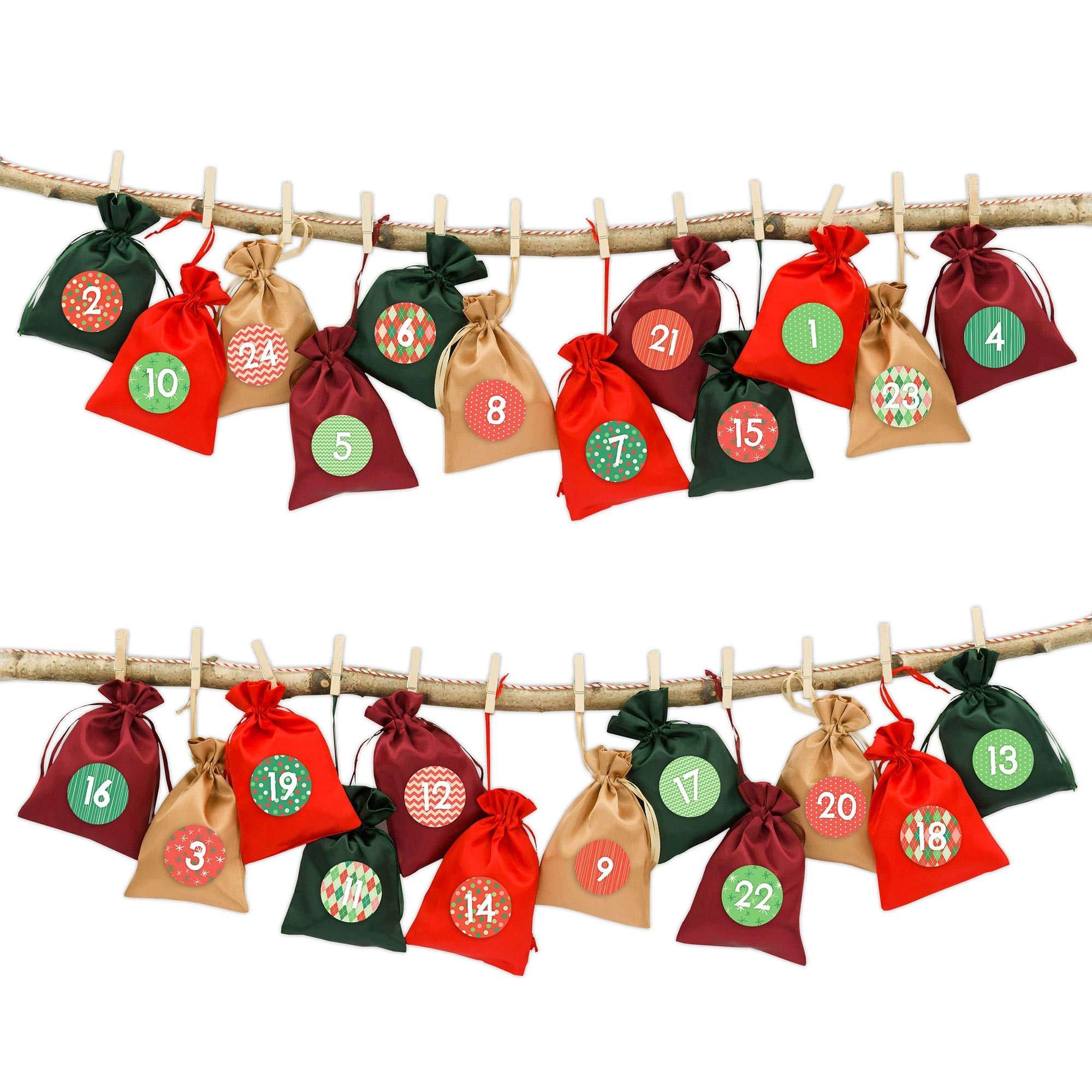 Il Calendario Dellavvento.24 Sacchetti In Stoffa Per Il Calendario Dell Avvento Da Riempire Con Spago Da Cucina E Mollette Sacchetti In Stoffa Da Decorare Natale Classico