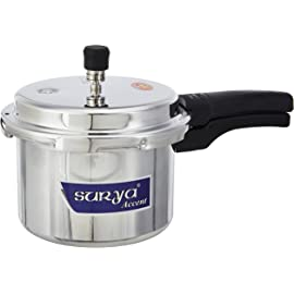 Aluminium Pressure Cooker   Brand Surya Accent Outer Lid   ISI Approved  3 L, Silver