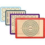Lot de 4 Tapis de Cuisson en Silicone, Anti-Adhérent Feuille de Cuisson Patisserie avec Mesures, Tapis de Four pour Macaron/B