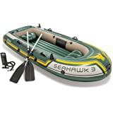 Intex Seahawk 3, 3-person uppblåsbar båt set med aluminium Oars och High Output Air Pump (atest modell)