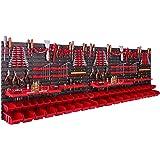 Opbergsysteem wandrek 230 x 78 cm, met gereedschapshouders, 46 stuks Stapelbakken, opslagrek, extra sterke wandplaten, uitbre