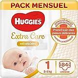 Huggies, Couches bébé Taille 1 (2-5 kg), Nouveau-nés, Unisexe, Avec indicateur d'humidité, Pack 1 mois de consommation, Nouve