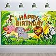 HOWAF Happy Birthday Pancarta para Selva Animal Cumpleaños Fiesta Decoración de Niño Chico, Bosque Safari Cumpleaños Decoraci