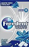 FREEDENT WHITE - Menthe Forte - 5 Paquets de 10 dragées  de Chewing-Gum sans sucres