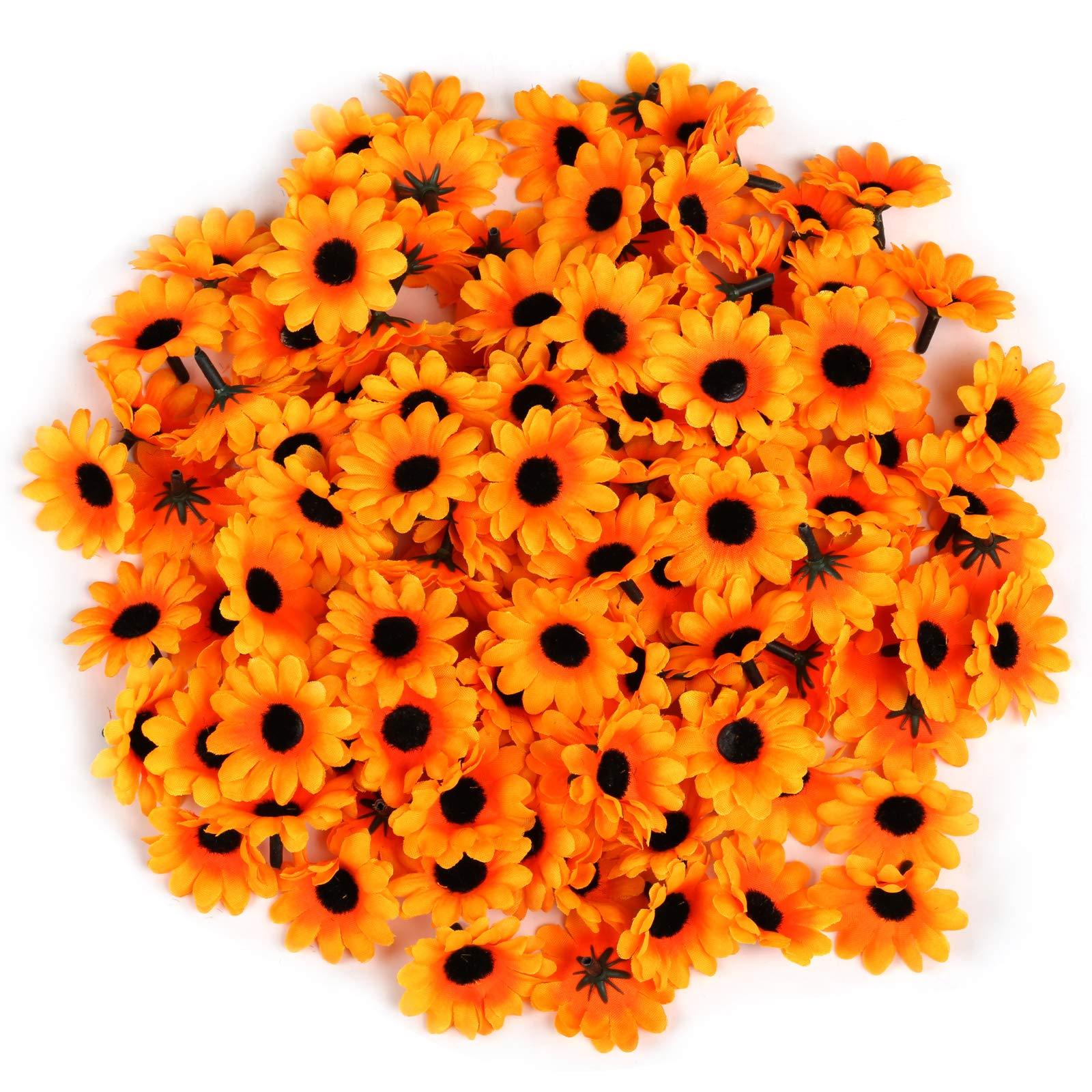 Naler 120 Margaritas Artificiales Pequeñas Cabezales De Flores Artificiales Decoración Boda Fiesta Diy Manualidades Color Amarillo