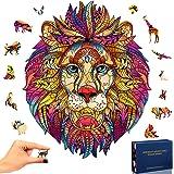 SPECOOL Puzzle en Bois Mysterious Lion 3D Puzzle Coloré Unique Forme Animale Jigsaw Pieces Puzzle en Bois Meilleur Cadeau pou