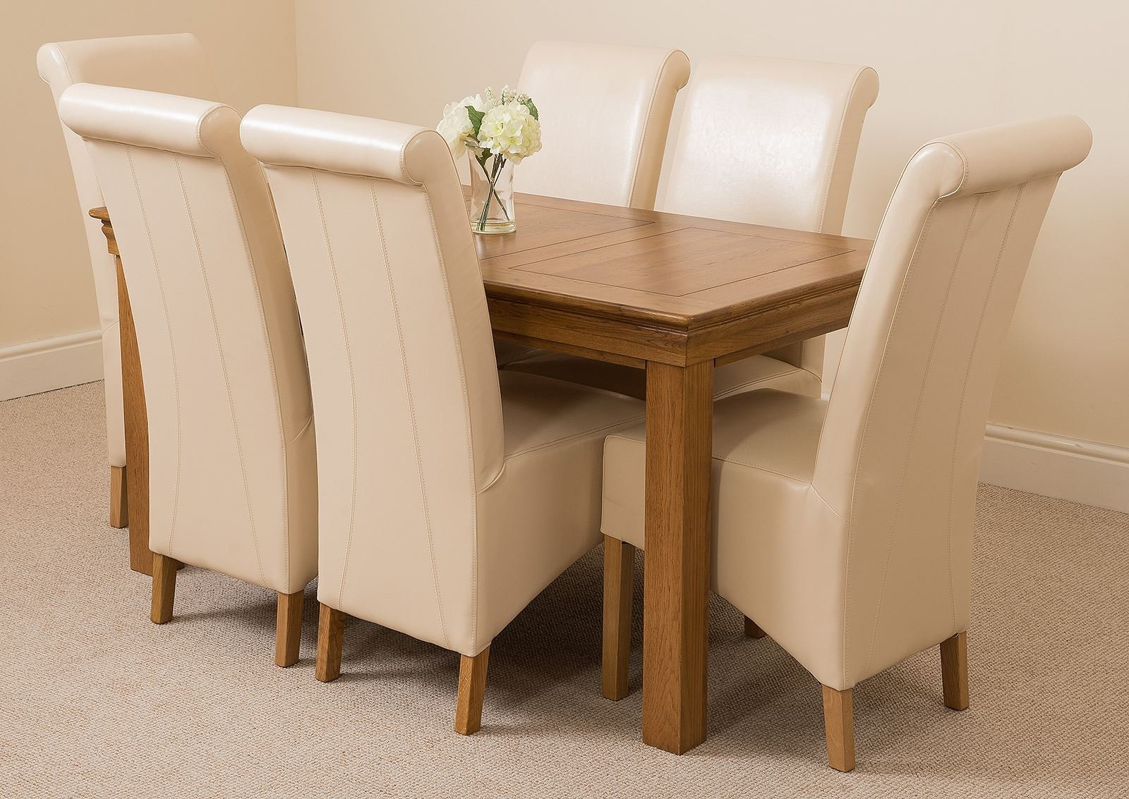 81i0qUqeidL - French Rustic Solid Oak 150 cm Dining Table with 4 or 6 Montana Dining Chairs
