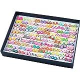 Orecchini Donna, Comius 100 Paia Orecchini da Ragazza, Fatti a Mano Ipoallergenico Ceramica Morbida Misto Colore Set per le D