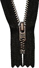 YKK Reißverschluss schwarz 10 cm für Hosen Hosenreißverschluss 4 mm Metallzähne brüniert / dunkles Messing