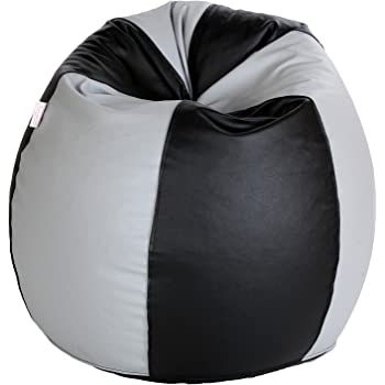 Comfy Bean Bags Jumbo Bean Bag Filled with Beans Filler (Black and Grey)