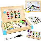 Jojoin Juego Tablero de Rompecabezas de Madera Lógico, Juguete Montessori de Madera Tablero Doble Lado con 10 Tarjetas de Pat