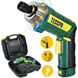 Atornillador Eléctrico 6N.m, TECCPO Destornillador Eléctrico, 45 Accesorios, 9 Torsión Ajustable, 2 Luz LED, Inferior como Li