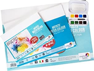 Brustro Watercolour Papers Cotton CP 300 GSM A5, A4 & A3 with Sennelier Aquarelle French Artists Watercolor Aqua-Mini Set - Metal Box of 8 Half Pans