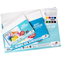 Brustro Watercolour Papers Cotton CP 300 GSM A5, A4 & A3 with Sennelier Aquarelle French Artists Watercolor Aqua-Mini…