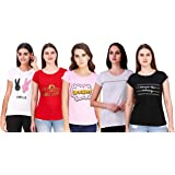 NIVIK Printed, Cotton t-Shirts, Combo of 5 Tops for Women & Girls
