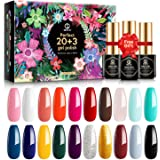 MEFA 23 Pcs Gel Nail Polish Set with Nice Box, Soak Off Nail Gel Collection with Glossy and Matte Top Coat Base Coat Manicure