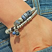 """Bracciale con pietra naturale""""Sodalite"""", con perle di zama e pelle, fatto a mano da Intendenciajewels - Braccialetti in…"""