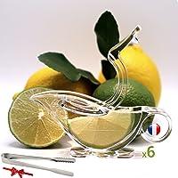 Presse citron individuel Lot de 06+Pince de glaçon sucre multi usages OFFERT Presse agrumes joli emballage art de table…