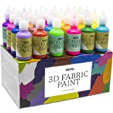 Pintura Textil 3D Nazca – Set 24 Colores (4 Neón UV) x 30ml – Pintura Permanente Perfecta para Pintar con Relieve sobre Tela,