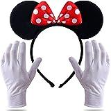 TK Group Timo Klingler 2 in 1 - Costume da Minnie con orecchie da mini topo con guanti e orecchie da topo per donna al Mardi
