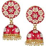 Jewel Pari 14k Non-Precious Metal, Gold-Plated, Crystal Base Metal Pearl Earrings For Women & Girls