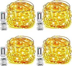 Tobbiheim 4 Stück Batterie Lichterketten Außen 50 Leds 7 Meter IP68 Wasserdicht 8 Modi mit Fernbedienung und Timer Diy Dekoration Kupferdraht für Weihnachten, Garten, Hochzeit, Kunststoff, Warmweiß