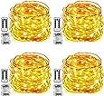 Tobbiheim 4 Stück Batterie Lichterketten Außen 50 LEDs 7 Meter IP68 Wasserdicht 8 Modi mit Fernbedienung und Timer DIY Dekoration Kupferdraht für Weihnachten, Garten, Hochzeit - Warmweiß