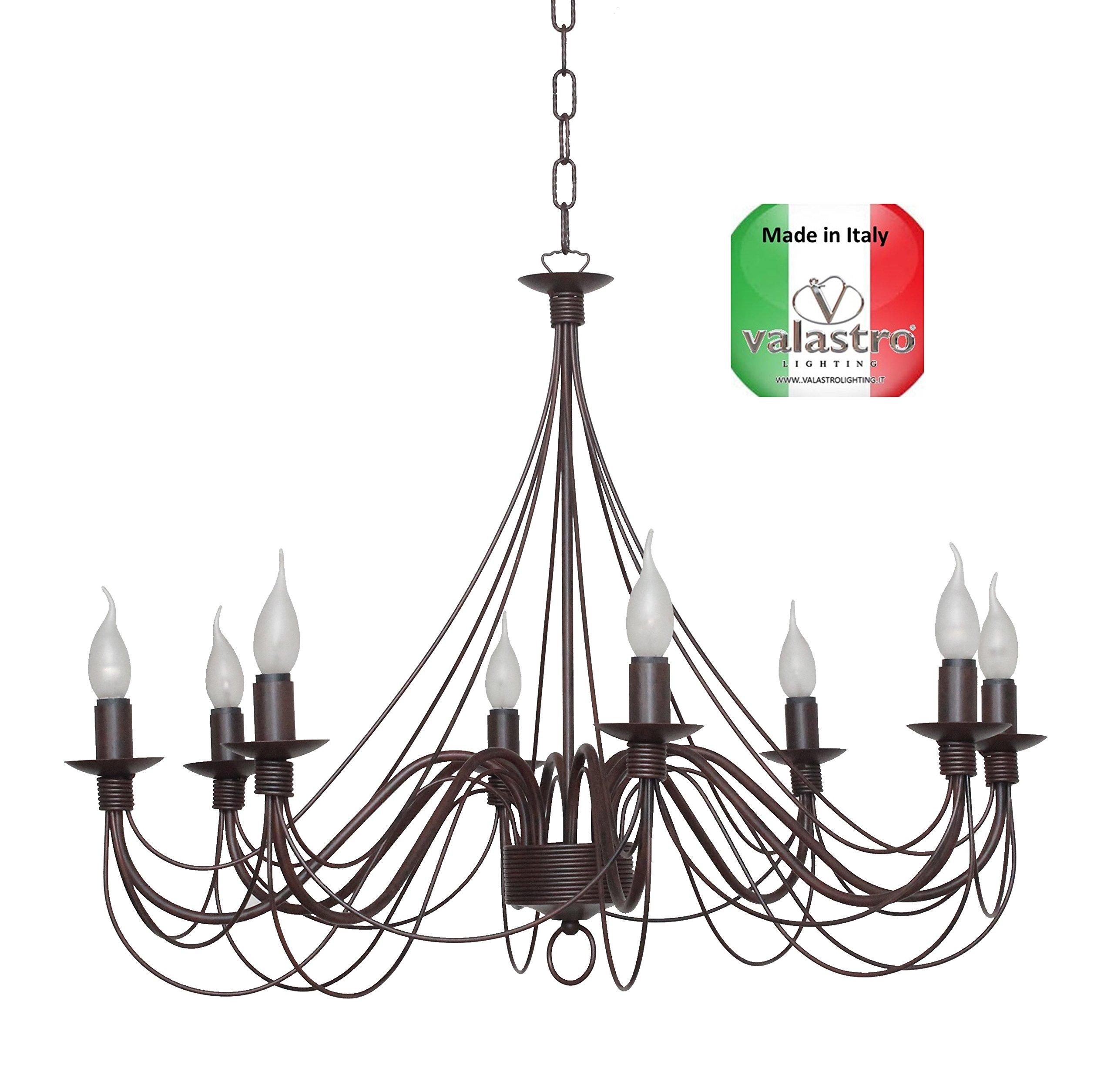 VALFB34300 SP8 NR CASCINA Lampadario Made in Italy a sospensione vintage in Ferro Battuto modellato a mano Nero/ruggine Prodotto da Valastro Lighting
