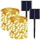 مجموعة من 2 قطعة من اسلاك اضواء بالطاقة الشمسية 400 ضوء ليد فائقة السطوع م شعاع ليد كبير مقاومة للماء من اسلاك النحاس تصلح كز
