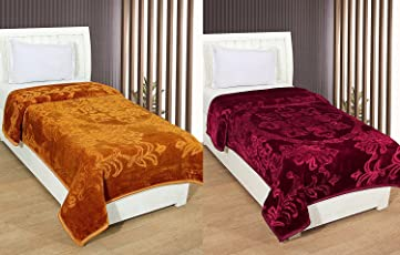 Goyal's Luxurious Embossed Mink Single Bed Blanket Pack of 2 (Rust & Marron)