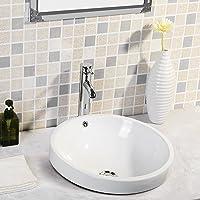 Mecor Vasque à Poser Salle de Bain Ronde en Céramique Moderne Meuble de Salle de Bain Blanche