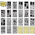 XCOZU Pochoir Scrapbooking Set, 20 Pièces Pochoirs Scrapbook et 3pcs Emoji Stickers, Réutilisable Plastique Alphabet et Voyag