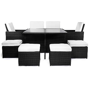 Amazon.de: Bomey Rattan Lounge Set I Gartenmöbel Set Como 9-Teilig I ...