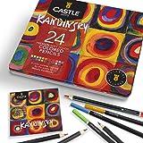Castle Arts 24 lápices de colores en un estuche de metal, inspirado en Kandinsky. Perfecto para dibujar, hacer bocetos, color