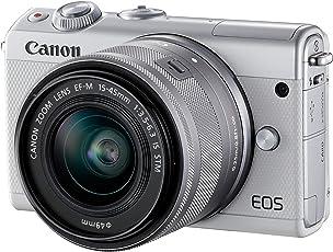 Canon EOS M100 Systemkamera (24,2MP, 7,5 cm (3 Zoll) Display, WLAN, NFC, Bluethooth, Full HD) Kit mit EF-M 15-45 mm f/3.5-6.3 IS STM weiß
