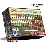 The Army Painter   Warpaints Mega Paint Set   50 Peintures Acryliques et 1 Pinceau Wargamer: Regiment Brush – Kit de démarrag