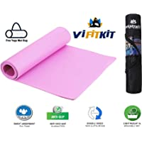 VIFITKIT® Yoga Mat Anti Skid Yoga mat with Carrying Strap for Gym Workout and Flooring Exercise Long Size Yoga Mat for Men Women