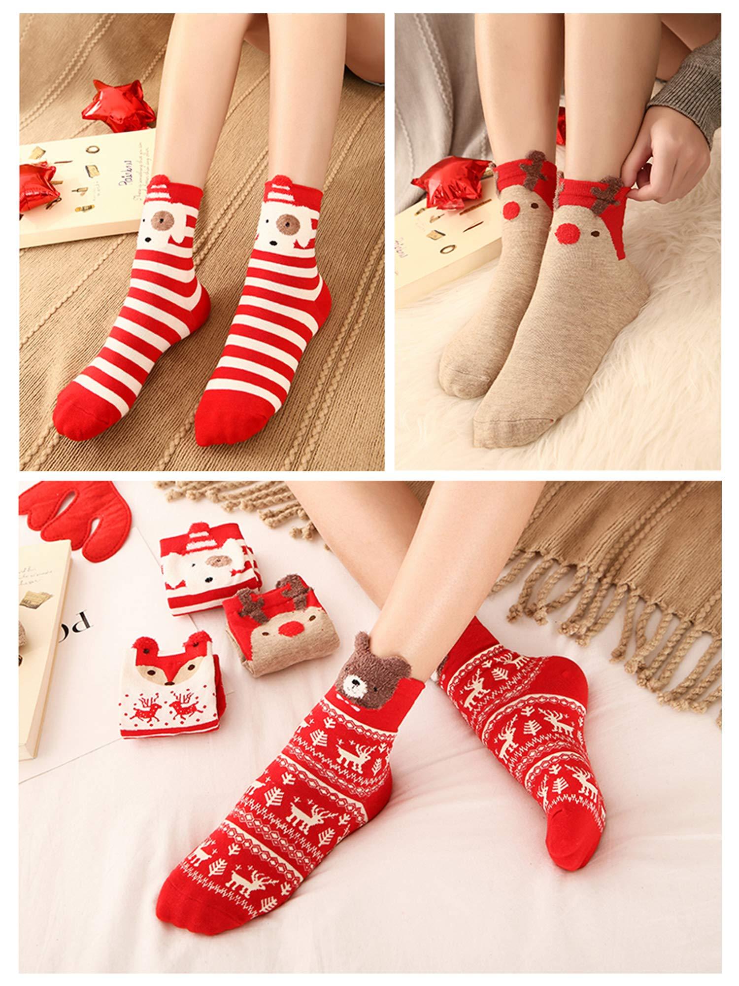 LIKERAINY Ragazze Donna Calzini Cotone di Natale Caldo Inverno Confortevole Animale 3D Calza 7 Paia 4 spesavip