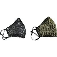 Rihav Fashional Swarovski Women's Multi-Colour Mask Set of 2 (GoldenBlack Mask)