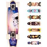 Compleet Retro Houten Skateboard - Ideaal voor Kinderen en Tieners - Jongens en Meisjes - Miniboard met Print - Cruiser board