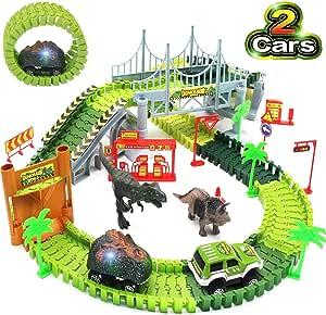Dinosaurier-Spielzeug, Flexible Auto Rennstrecken mit Dinosauriern, Militärfahrzeug, Bäumen, Pisten, Tür, Set Kinderspielzeugspiele, Geschenk für Kinder 2 3 4 5 Jahre alte Jungen und Mädchen