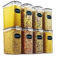 Wildone Lot de 8 boîtes de conservation hermétiques pour céréales et aliments secs 2,5 l pour sucre, farine, snack…