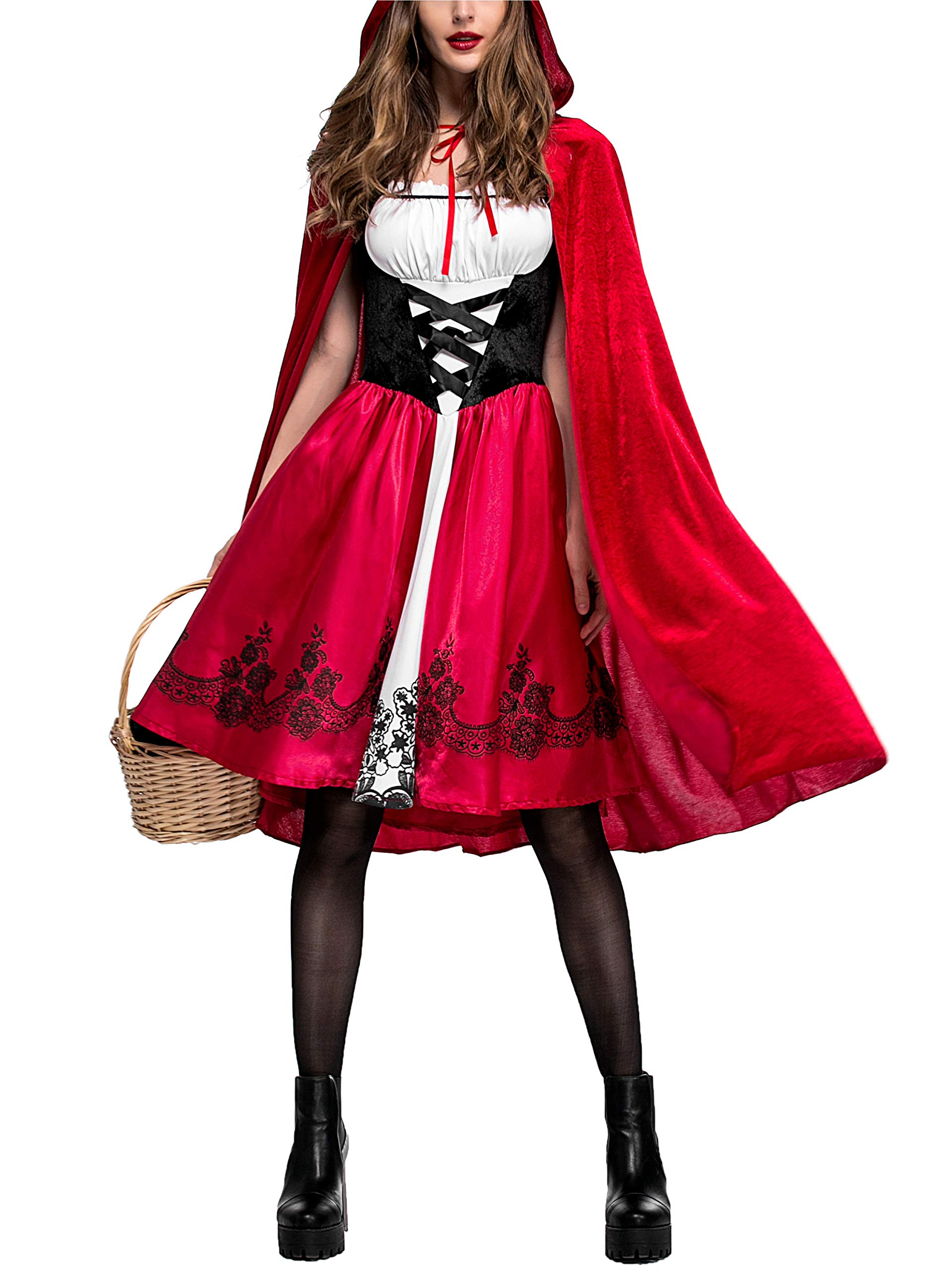 Rotkäppchen Damen Kostüm Karneval Fasching Kleid Kapuzenumhang Verkleidung