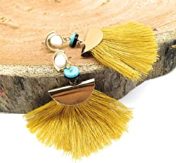 Satyam Kraft Boho Bohomia Gypsy Egitptian Collection golden Designer Fusion party wear Tassel earrings for girls stylish hanging womenJewellery Gift special Valentine Gift / special gift/love gift/gifts