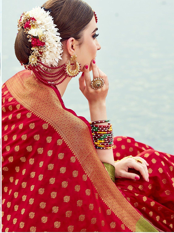 e8873adbe3080 EthnicJunction Women s Banarasi Silk Saree with Booti Zari Thread ...