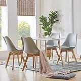 H.J WeDoo Ensembles de Meubles de Salle à Manger, Rectangulaire Table de Salle à Manger en MDF avec 4 Scandinave Moderne Gris